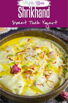 Srikhand is a traditional Maharashtrian dessert made using fresh yogurt and powdered sugar. Here is a traditional recipe to make Srikhand. Indian Dessert Recipes, Sweets Recipes, Diwali Recipes, Indian Sweets, Indian Recipes, Great Recipes, Favorite Recipes, Diwali Food, Indian Cookbook