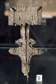 ENGLISH: Buckle from the viking age, found in Luster, Western Norway. Exhibited in Bergen museum.