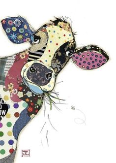 Connie Cow - Bug Art greeting card designed by Jane Crowther.Quirky yet elegant 'Connie Cow' greeting card by Bug Art. Lovely colours and pattern work, and for fans of handmade cards that like tactile designs the card is embossed and finished with gold fo Fabric Art, Fabric Crafts, Sewing Crafts, Sewing Projects, Sewing Art, Diy Crafts, Fabric Dolls, Applique Patterns, Applique Quilts