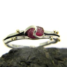 Ruby ring sterling silver handmade organic ring by nikiforosnelly, $65.00