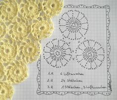 Cute pattern with diagram.  1st round Ch 6. 2nd round 24 DC´s. 3rd round 1 DC, 3 Ch. repeat. Join as you go...would like to try with double or bulky yarn~