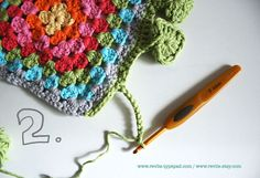Crochet Hearts on your rainbow granny scarf www.revlie.typepad.com  #tutorial #crochet #haken