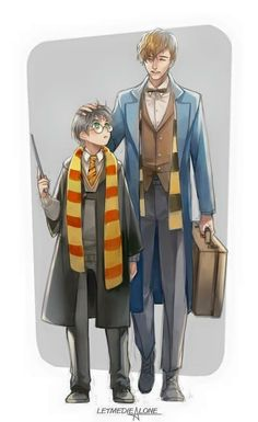 Harry Potter y Newt Scamander Harry Potter Fan Art, Harry Potter Universe, Mundo Harry Potter, Harry Potter Drawings, Harry Potter Fandom, Harry Potter World, Harry Potter Memes, Modele Pixel Art, Desenhos Harry Potter