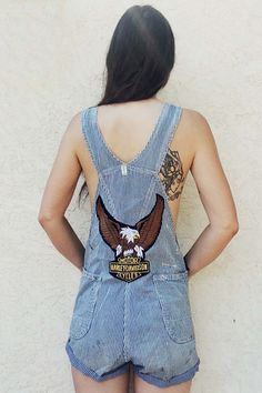 Railroad Blues Patched n Destroyed Striped Overalls