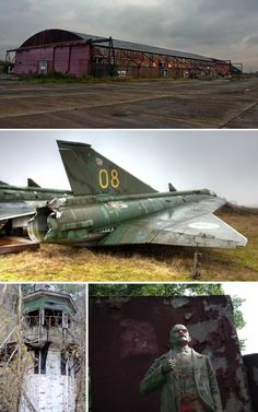 Abandoned military bases often tell a more sinister historical story, and an overgrown guard tower and vandalized statue of Lenin are ominous signs at the front gate. Occasionally, forgotten aircraft remain parked in remote corners of some military sites. Abandoned Property, Abandoned Mansions, Abandoned Buildings, Abandoned Places, Us Military Bases, Urban Exploration, Haunted Places, Places Of Interest, Ghost Towns