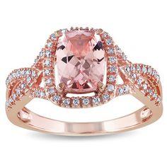 Miadora 10k Rose Gold Cushion-cut Morganite and 1/6ct TDW Diamond Ring (G-H, I1-I2) - Overstock™ Shopping - Top Rated Miadora Gemstone Rings