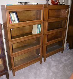 795 Nice Matched Pair Of Walnut 4 Stack Lawyer Or Barrister Bookcases For