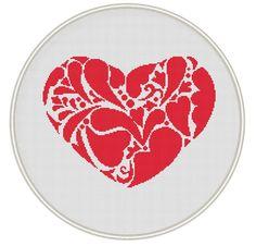 Heart cross stitch pattern, Counted cross stitch pattern, Instant Download, Free shipping, Cross-Stitch PDF, Valentine's day