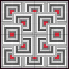 Log Cabin Chevron block quilt - old technique with a modern look