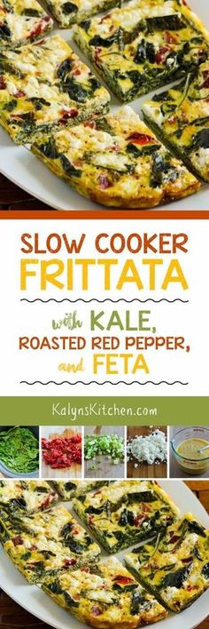 This tasty Slow Cooker Frittata with Kale, Roasted Red Pepper, and Feta is low-carb, Keto, low-glycemic, glute-free, meatless, and South Beach Diet friendly. Use a large oval slow cooker, Ninja Cooker, or the Crock-Pot Casserole Crock to make this. [found on http://KalynsKitchen.com]
