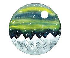 Acuarela original Full moon y montañas