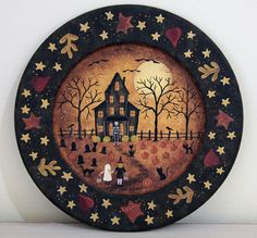 Folk Art Halloween Wood Plate  READY TO SHIP  by RavensBendFolkArt