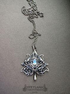 Moonstone pendant Moonstone necklace Silver от sweetsjewelryshop