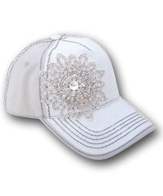 Olive and Pique Ivory and Beige Embellished Flower Ball Cap … 5dd1b503d5c1