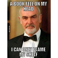 ✓ A book fell on my head. I can only blame my shelf.