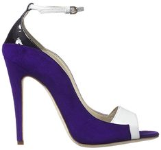 """Brian Atwood """"Evie"""" Pumps in Black Patent/Purple Suede/White Leather"""