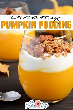 Creamy, smooth, and rich Pumpkin Pudding recipe is easy to make in just 15 minutes and highly addictive. Top with granola, whipped cream, pecans, or caramel. Or all of the above! I can pretty much guarantee that this is the best Pumpkin Pudding recipe out there. And I know that because I've adapted it from the all-time best original pudding recipe out there. | The Gracious Wife @thegraciouswife #pumpkinpudding #fallpuddingrecuipes #easypuddingrecipes #thanksgivingdesserts #thegraciouswife