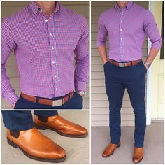 Red and blue is a favorite color combo of mine? And the temps have warmed up a bit here ? so no need for layers today. Do you like this outfit? Casual Wear, Men Casual, Casual Shoes, Moda Formal, Mein Style, Herren Outfit, Business Casual Outfits, Sharp Dressed Man, Fashion Outfits