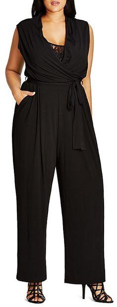 Plus Size Faux-Wrap Lace Jumpsuit