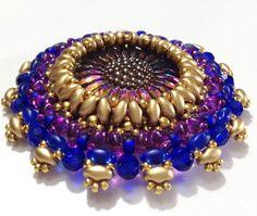 by Ann E Hemenway, pattern by Margherita Fusco Bead Weaving, Free Pattern, Beading, Ann, Buttons, Gold, Stuff To Buy, Inspiration, Jewelry