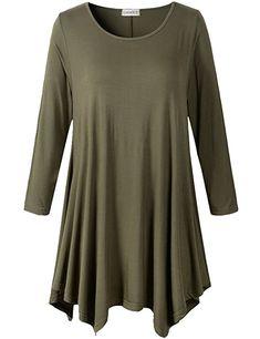 LARACE Lanmo Women Plus Size 3 4 Sleeve Tunic Tops Loose Basic Shirt (S fb316a8f4
