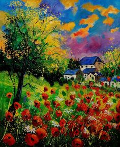 "Saatchi Online Artist: Pol Ledent; Oil 2011 Painting ""poppies and daisies""....wonderful inspiration for felting"