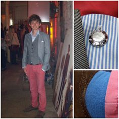 Topman Blazer, Primark Red Trousers, M Brown Brogues, Topman Waist Coat, M Shirt, Cufflink Mother Of Pearl, Sock Shop Farah Socks