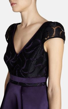 Lace bodice panelling dress