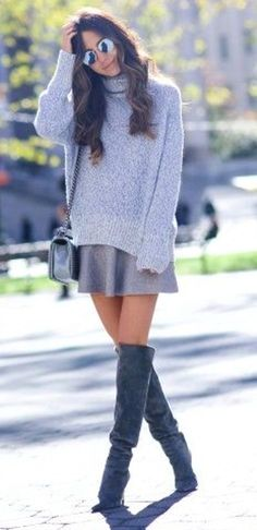 925340b42724  winter  fashion   Grey Turtleneck Knit    Grey Skirt    Dark Suede