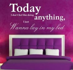 Vinyl Wall Art Sticker - Today Wanna Lay In Bed Quote Decal,Bedroom , Color : Yellow , Size : Medium - Wide X High Bed Quotes, Decal, Sticker, Laying In Bed, Quirky Gifts, Vinyl Wall Art, Color Yellow, Bedroom, Medium