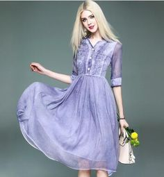 Cheap linen dress, Buy Quality sexy dress directly from China dresses female Suppliers: 2017 Spring And Summer New Sleeve Silk Linen Dress Female Waist Fried Color Large Swing Middle Sexy dresses made china Vestidos Sexy, Dress Vestidos, Cheap Linens, Lavender Dresses, Camisa Formal, Half Sleeves, Dress Making, Sexy Dresses, Dresser