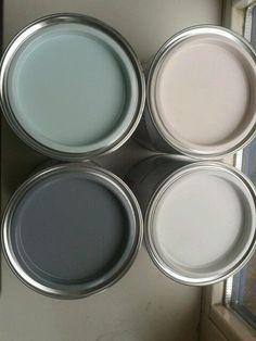 ▷ 1001 + Ideen zum Thema Farbkombinationen mit Grau in der Wohnung graue wandfarbe mit dekorativen farben verzieren, rosarot, dunkel und hellgrau, champagner farbe, wandfarben Gray Painted Walls, Grey Walls, Paint Walls, Paint Colors For Home, House Colors, Paint Colours, Colour Schemes, Paint Schemes, Color Combinations