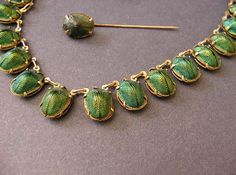 Victorian REAL Scarab Beetle JEWELRY. Extremely rare complete necklace set from the late 1800's with real scarab beetles in the settings.