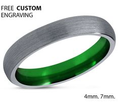 Tungsten Ring Mens Green Wedding Band Tungsten Ring Tungsten Carbide 4mm Tungsten Ring Man Wedding Band Male Women Anniversary Matching B. •:*¨`*:•E.•:*¨`*:•L.•:*¨`*:•L.•:*¨`*:•Y.•:*¨`*•:*¨`*:•S.•:*¨`*:•S.•:*¨`*:•A Luxury Brushed Silver and Green Tungsten Carbide Mens Wedding Band