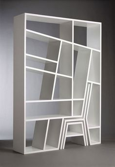 Modern Furniture with function this space saving bookcase included a stool and a chair. I'm sure you could double up the stool as a little table. :: Bookshelf, Chair and Stool Moder Creative Bookshelves, Bookshelf Design, Bookshelf Ideas, Book Shelves, Modern Bookshelf, Shelving Design, Shelving Ideas, Corner Shelves, Wall Shelves