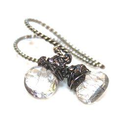 Rutilated Amethyst Earrings Grey Rough Diamond by FizzCandy #diamonds #earrings #oxidized #jewelry #fizzcandy #grey
