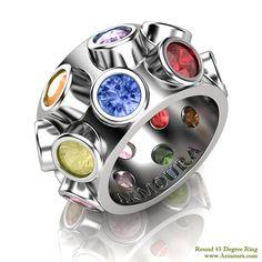 45 Degree ring, round brilliant cut coloured stones in platinum, www.Armoura.com