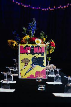 Batman wedding table theme, Bouncy Robot Photography via @offbeatbride