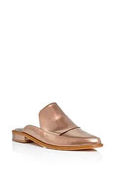 Bronze leather denni slip on loafers by TIBI Now Available on Moda Operandi