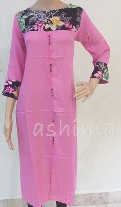 Code:1111162 - Rayon kurti With Printed yoke, Price INR:1290/-