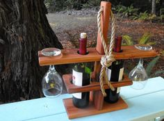 Wine+Bottle+and+Glass+Holder.+by+RedwoodDecor+on+Etsy,+$25.00