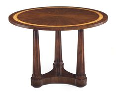Dia Bari Center Tablethe Top Is Radially Veneered In American Black Walnut With A Tamo Ash Inset Banding The Deeply Fluted Tapered Columns Rise From A Curvilinear Base Raised On Bun Feet