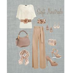 Soft Neutrals.  Gorgeous pants and the jewelry and shoes are perfect.  Great for work, job interview outfit, or church.