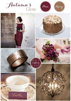 Autumn Glow - Bronze & Plum Wedding Inspiration Board