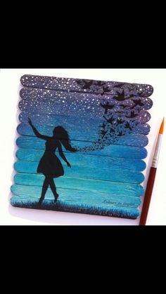 Lolly stick fairy painting