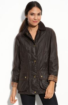 Barbour 'Beadnell' Waxed Cotton Jacket in Rustic