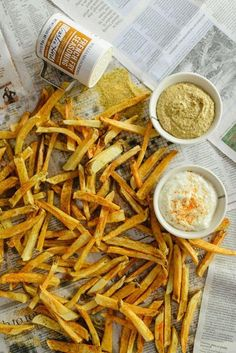 Homemade French Fries Recipe and Garlic Aioli Dipping Sauce from Waiting On Martha -- YUM!