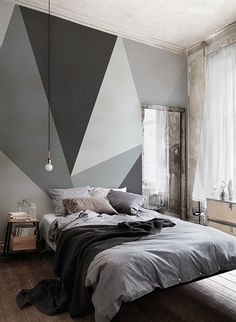 Dazzle your houseguests with these show-stopping geometrics! This geometric wallpaper mural is brimming full of style and sophistication. Perfect for contemporary living spaces! Bedroom Wallpaper Murals, Home Wallpaper, Geometric Wallpaper, World Map Wallpaper, Room Ideas Bedroom, Home Decor Bedroom, Modern Bedroom, Dream Rooms, New Room