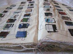 "Veronique Lafont fabric artists book - ""Recevez 1000 Baisers, Effleurez Plus Fashion Sketchbook, Art Sketchbook, Buch Design, Diy Design, Artist Journal, Journal Art, Stitch Book, Fashion Portfolio, Portfolio Book"