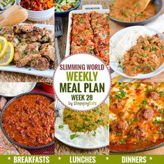 Diet Meal Plans Slimming Eats Weekly Meal Plan - Week 28 - Slimming World - taking the work out of meal planning, so that you can just cook and enjoy the food - Healthy Work Snacks, Easy Healthy Dinners, Healthy Foods To Eat, Easy Dinner Recipes, Healthy Eating, Extra Easy Slimming World, Slimming World Recipes Syn Free, Diet Recipes, Cooking Recipes